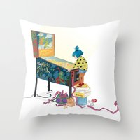 gamer Throw Pillows featuring Gamer  by Lesley Vamos