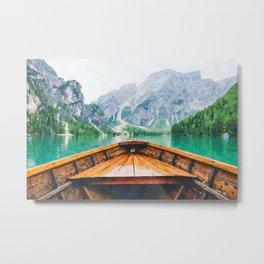 Boat in the lake watercolor painting  Metal Print