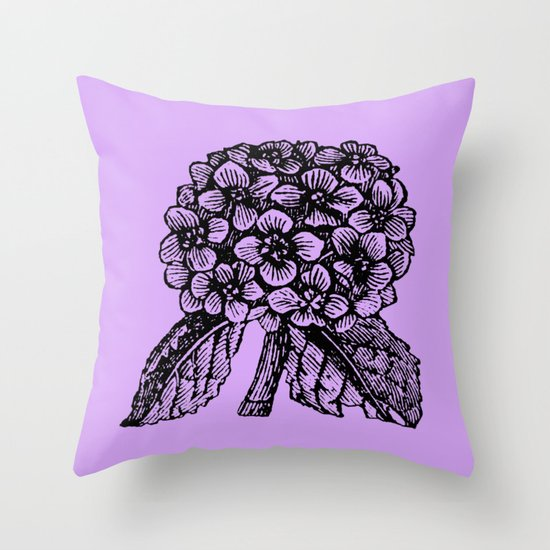 Lavender Hydrangea Throw Pillow