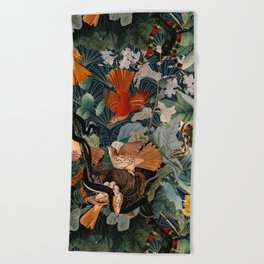 Birds and snakes Beach Towel