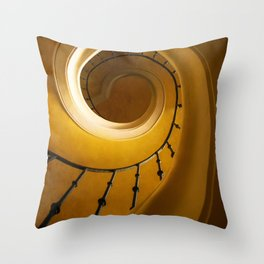 Brown and golden spiral staircase Throw Pillow