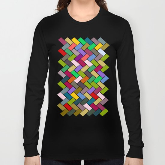 Colourful Tiled Mosaic Pattern Long Sleeve T-shirt