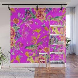 Bold Summer Print on Magenta Pink Wall Mural