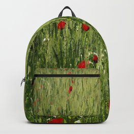 Red Poppies Growing In A Corn Field  Backpack