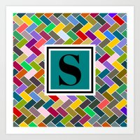 monogram Art Prints featuring S Monogram by mailboxdisco