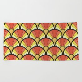 Radiant Sunshine Art Deco Pattern Beach Towel