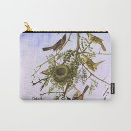 Sky Blue Pink with birds Carry-All Pouch