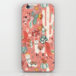 Lama in cactus jungles iPhone Skin