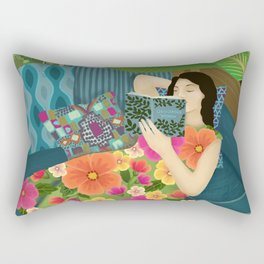Women Who Read Are Dangerous- Woman reading plant filled room Rectangular Pillow