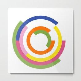 Bauhaus inspired design in a greenery palette Metal Print