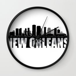 New Orleans Silhouette Skyline Wall Clock