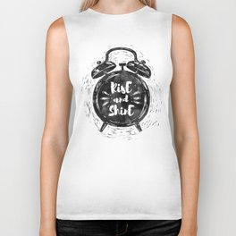 Hand drawn grunge illustration of the alarm clock with handwriting inscription Rise an Shine Biker Tank