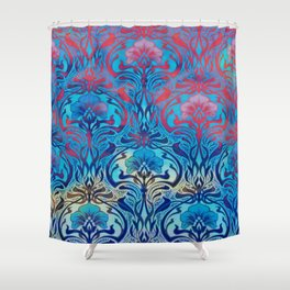 Art Nouveau,blue ombre, beautiful pattern, belle epoque,victorian,elegant,chic,modern,trendy,vibrant Shower Curtain
