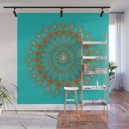 Hand-Drawn Bohemian Mandala Turquoise & Rust Wall Mural