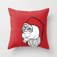 beaver Throw Pillows featuring Beaver by JuPON