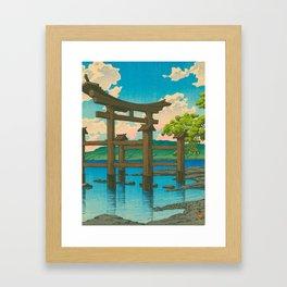 Vintage Japanese Woodblock Print Torii In Water Sacred Shinto Shrine Framed Art Print