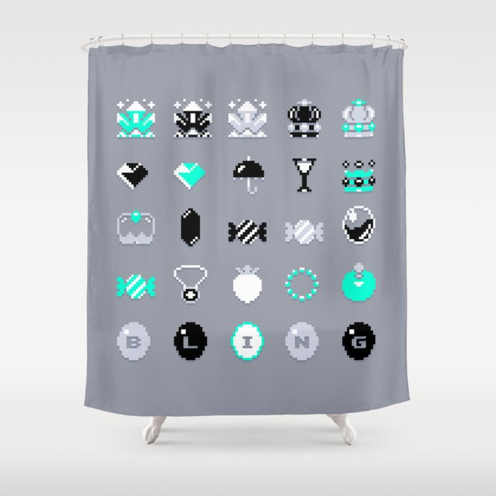 8 Bit Bling Shower Curtain