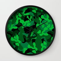 camouflage Wall Clocks featuring Camouflage (Green) by 10813 Apparel