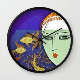 "Art Deco Illustration ""Goldfish Gazing"" by Erté Wall Clock"