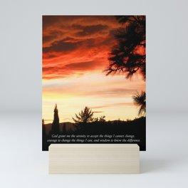 Serenity Prayer Sunset Red Clouds Mini Art Print