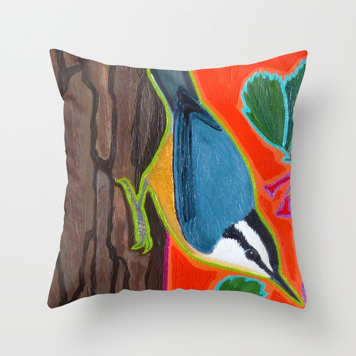 Red Breasted Nuthatch Couch Throw Pillow by Wrendreams - Cover (24