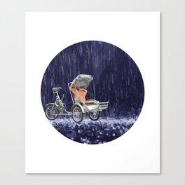 Cyclo in the Rain Vietnam Symbol Abstract Canvas Print
