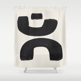 Mid Century Modern Minimalist Abstract Art Brush Strokes Black & White Ink Art Tribal Marking Shower Curtain