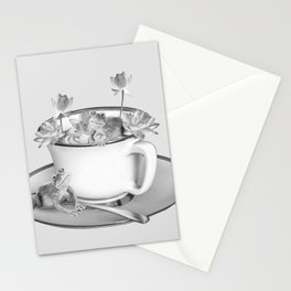 Coffee Cup Two Frogs Lotos Flower Stationery Cards