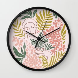 Wild tropical young woman Wall Clock