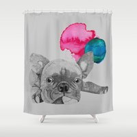 french bulldog Shower Curtains featuring French Bulldog  by Olivia James