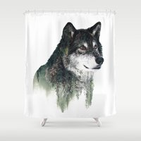 wolf Shower Curtains featuring WOLF by RIZA PEKER