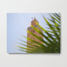 Koutoubia Mosque behind a palm leaf | Travel photography Morocco Metal Print
