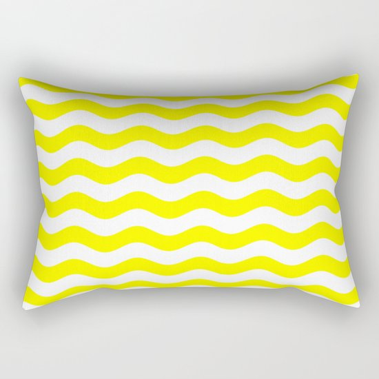 Wavy Stripes (Yellow/White) Rectangular Pillow