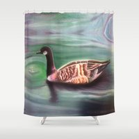 canada Shower Curtains featuring Canada Goose by Kapika Arts