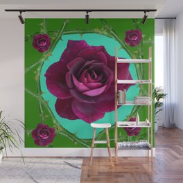 VELVETY DARK RED ROSE GREEN CANES ART Wall Mural