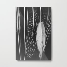 Boho Feathers - Black and White feather photography by Ingrid Beddoes Metal Print