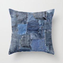 Blue Jeans Pocket Patchwork Pattern Throw Pillow