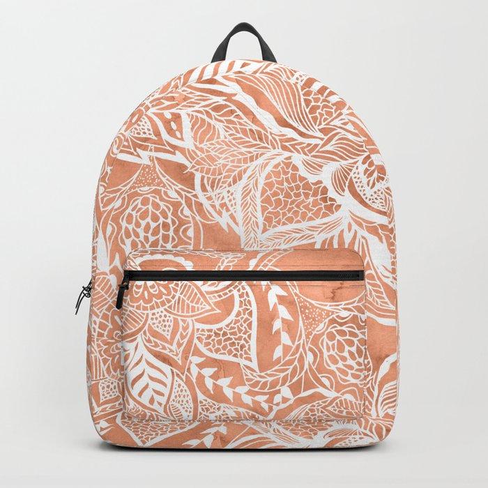 Modern tan copper terracotta watercolor floral white boho hand drawn pattern Backpack