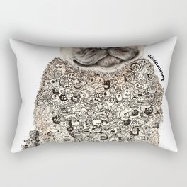 Pug Zentangle Doodle Black and White Pen Realistic Drawing Rectangular Pillow