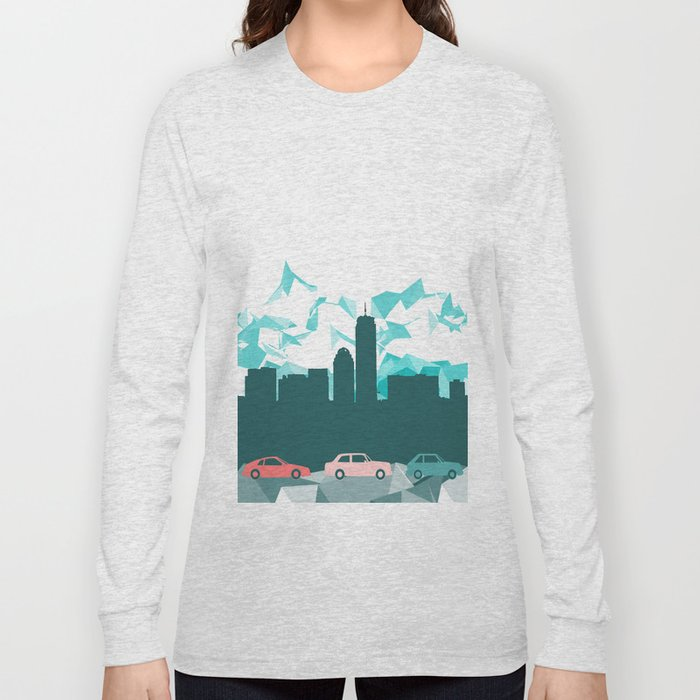 City, mountain and cars Long Sleeve T-shirt