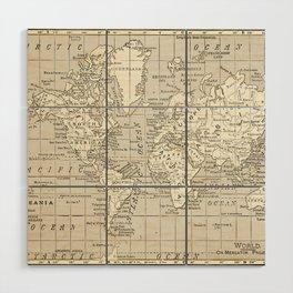 Taupe Wol Map Wood Wall Art