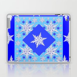 DECORATIVE BABY BLUE SNOW CRYSTALS BLUE WINTER ART Laptop & iPad Skin
