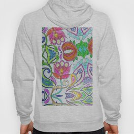 Pink orange lime green artistic watercolor hand drawn flowers Hoody