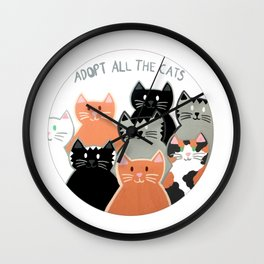 Adopt all the cats Wall Clock