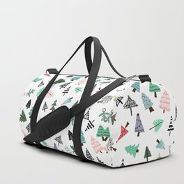 Cute whimsical Christmas trees pattern illustration Duffle Bag