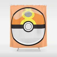 pokeball Shower Curtains featuring Repeat Pokeball by Pi Design Prints