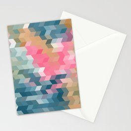 Abstract pink, blue, gray Stationery Cards