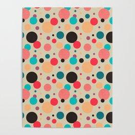 Multicolored Geometric Polka Dot Pattern Poster