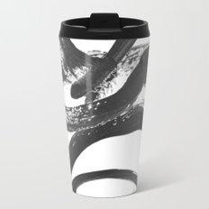 Interlock black and white paint swirls Travel Mug