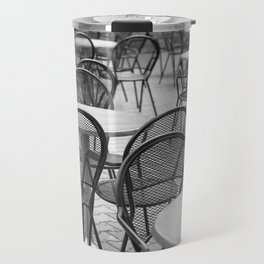 Empty chairs & tables society in a cafe Travel Mug